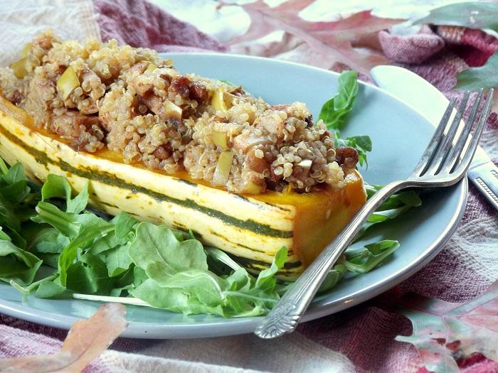 Five Spice Roasted Apple and Quinoa Stuffed Delicata Squash