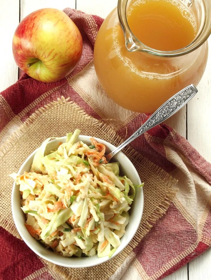 Apple Cider Tahini Slaw