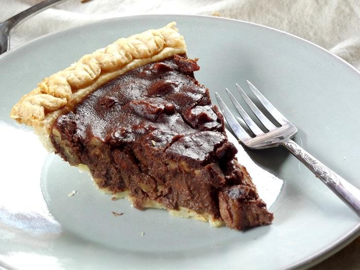 vegan chocolate pecan pie slice detail
