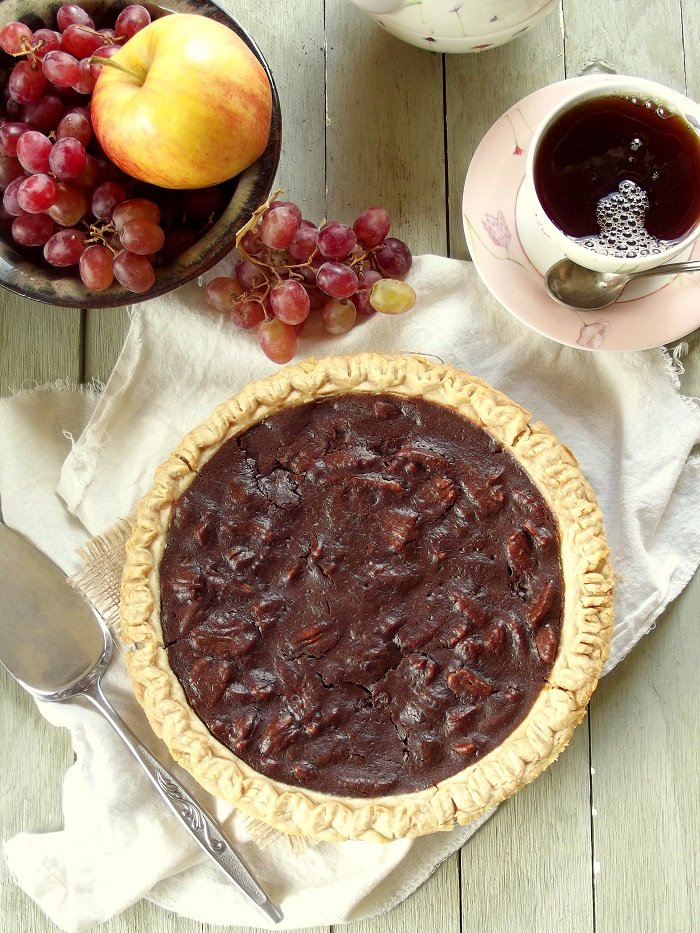 vegan chocolate pecan pie top portrait