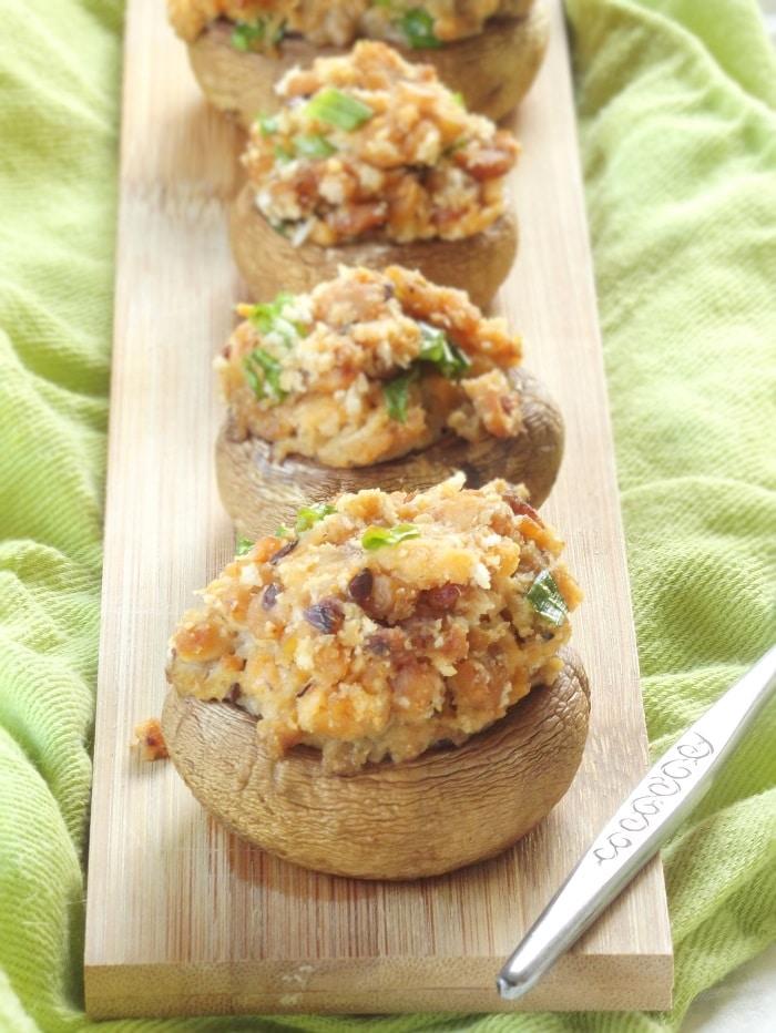 Vegan Stuffed Mushrooms with Tempeh Bacon