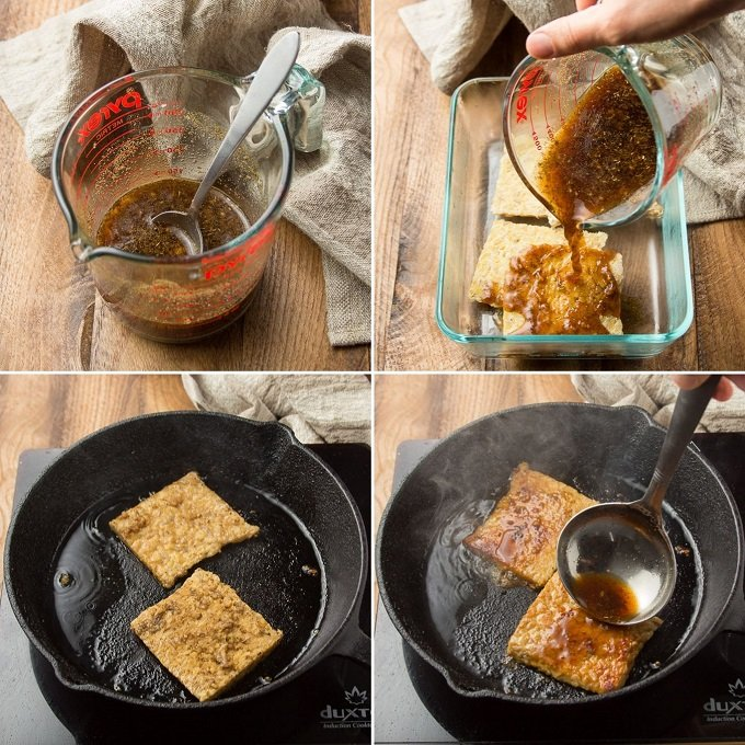 Collage Showing Steps for Making Tempeh Patties for Vegan Thanksgiving Sandwiches: Mix Marinade, Marinate Tempeh, and Pan-Fry Tempeh