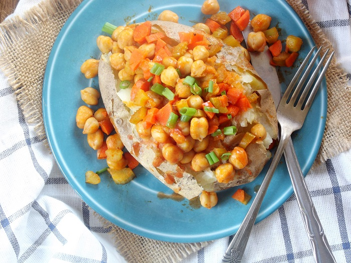 Buffalo Chickpea Loaded Potato Recipe — Dishmaps