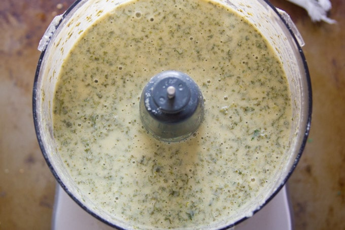 Vegan Creamy Kale Soup in a Food Processor Bowl After Blending