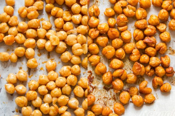Collage Showing Spicy Roasted Chickpeas on a Baking Sheet Before and After Baking