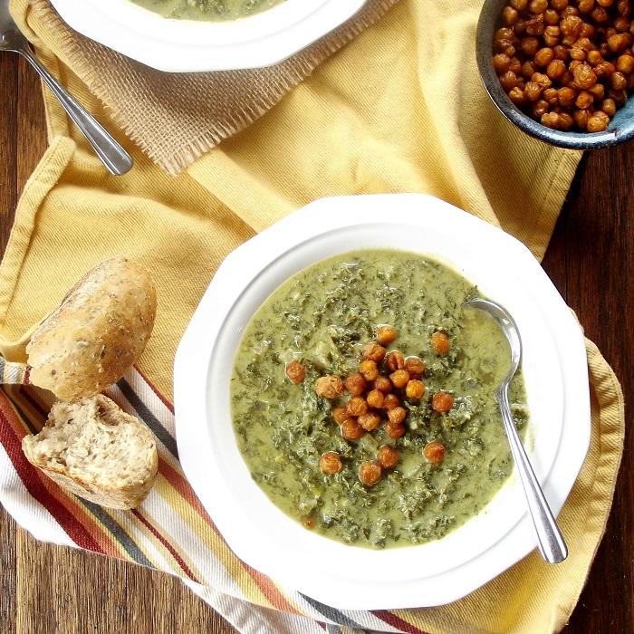 creamy kale soup featured