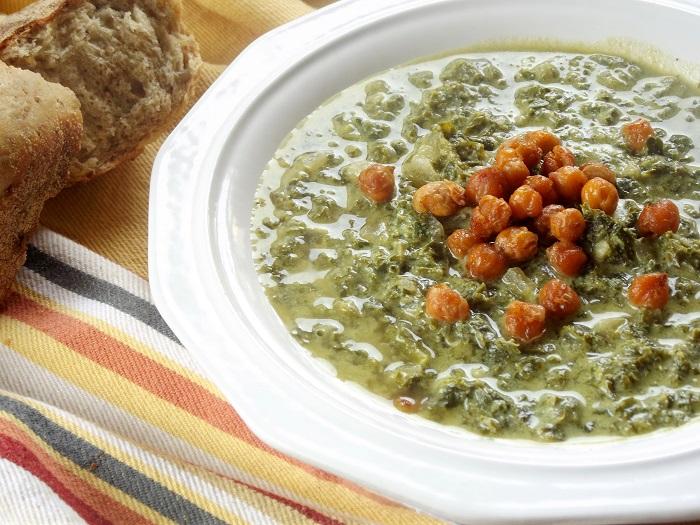 creamy kale soup side detail