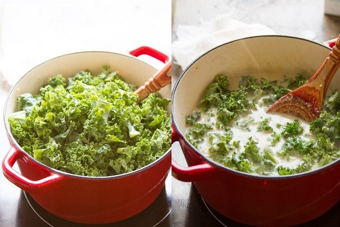 Collage Showing Two Steps for Making Vegan Creamy Kale Soup: Add the Kale in Batches and Simmer Until the Kale Wilts