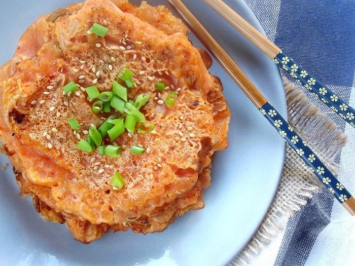 kimchi panckakes detail top