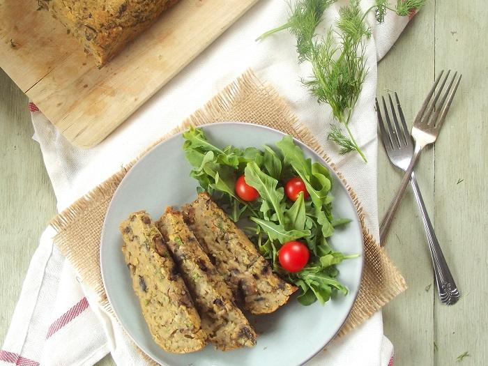 Mushroom Dill Red Lentil Roast