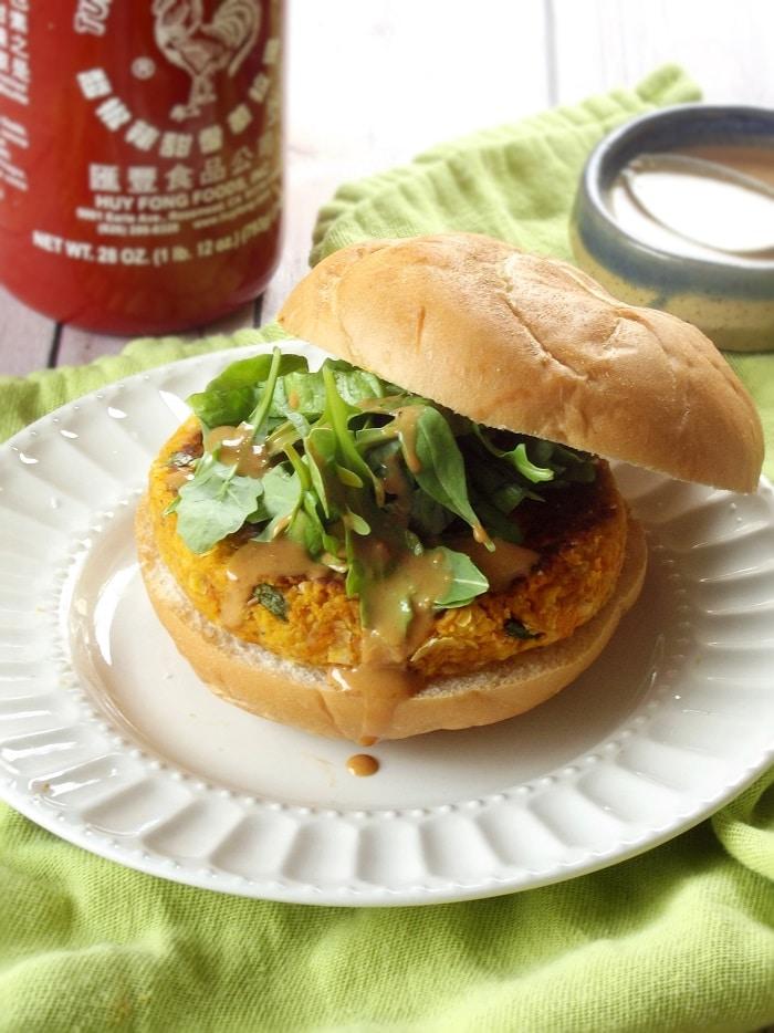 Thai Massaman Curry Butternut Squash Burgers with Peanut Sauce