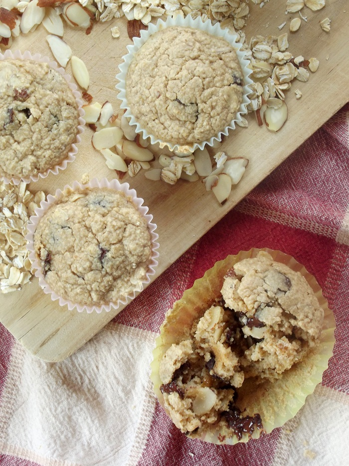 oatmeal chocolate chip muffins portrait