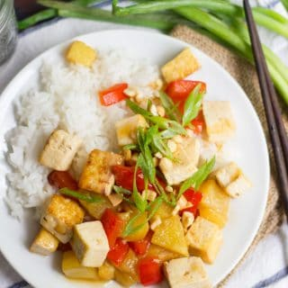 Overhead View of Sweet and Sour Tofu on a Plate with Chopsticks