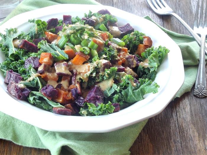 sweet potato kale salad side detail