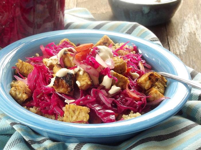 Vegan Tempeh Reuben Bowls