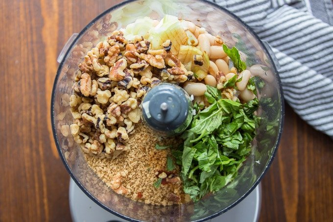 Food Processor Bowl Filled With Ingredients For Making Vegan Meatballs for Banh Mi