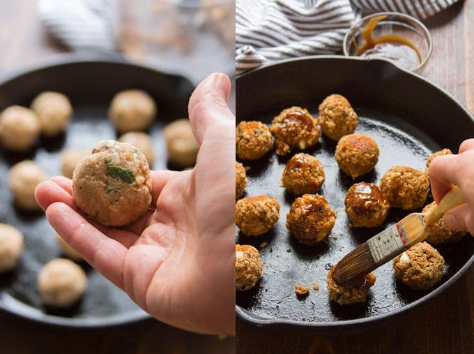 Collage Showing Steps to Make Vegan Meatballs for Banh Mi: Roll Meatballs, Bake and Brush with Hoisin Sauce