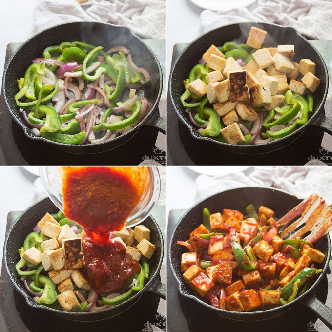 Collage Showing Steps 5-8 for Making Vegan Chilli Paneer: Stir-Fry Peppers and Onions, Add Tofu, Add Sauce, and Cook Until Heated