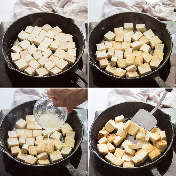 Collage Showing Steps 1-4 for Making Vegan Chilli Paneer: Pan-Fry Tofu on Both Sides, Add Lemon Juice, and Cook Until Liquid Reduces