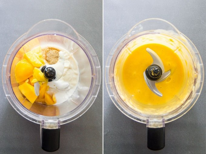 Side-By-Side Images of Vegan Mango Lassi Ingredients in a Blender Before and After Blending