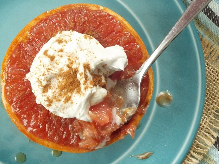 Brown Sugar Broiled Grapefruits with Whipped Coconut Cream
