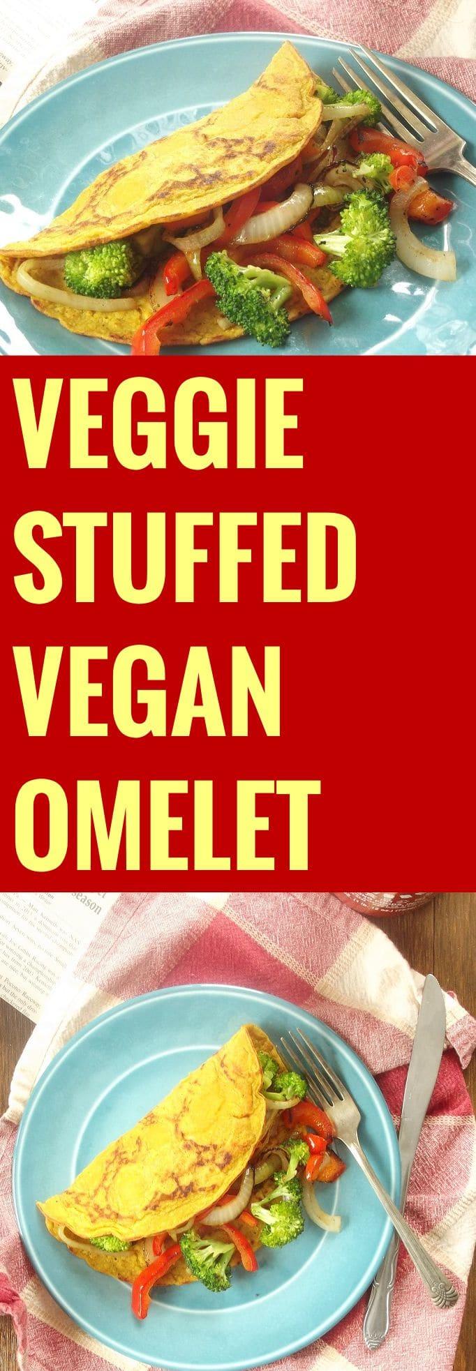 Veggie Stuffed Vegan Omelet