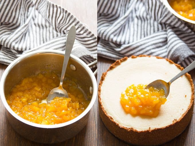 Collage Showing Steps for Topping Vegan Cheesecake: Simmer Mango-Lime Topping and Spread Over Cheesecake