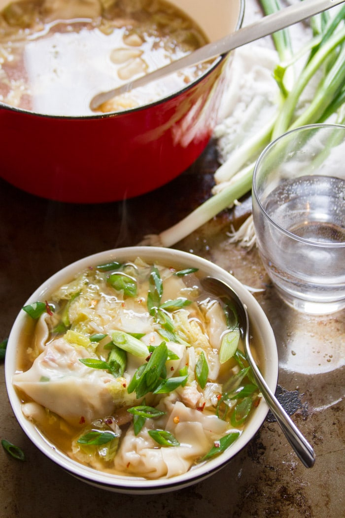 Vegan Wonton Soup in a Bowl with Spoon