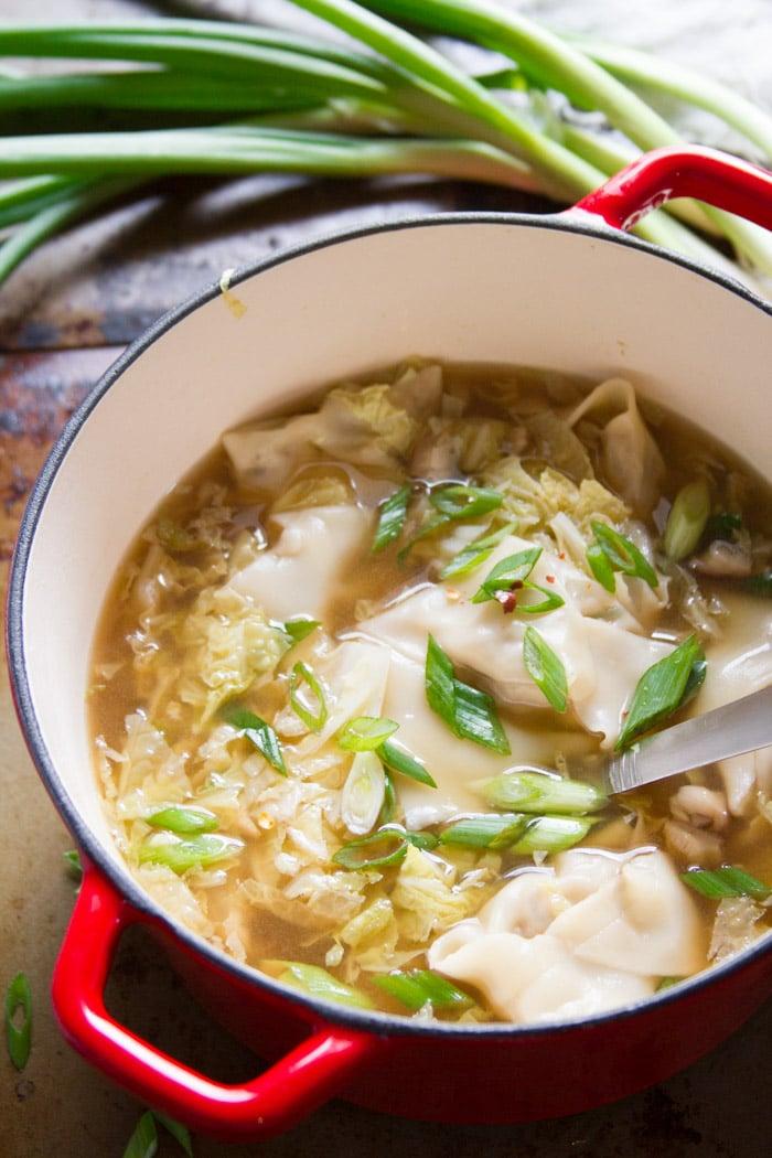 A Pot of Vegan Wonton Soup with Ladle