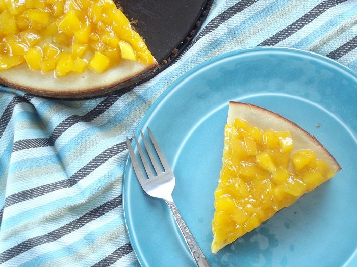 Vegan Cheesecake with Mango Lime Topping