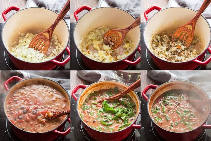 Collage Showing How to Make Caribbean Bean Soup with Collard Greens: Sauté Onion, Add Aromatics, Add Spices, Add Beans and Liquids, Add Collard Greens, and Simmer