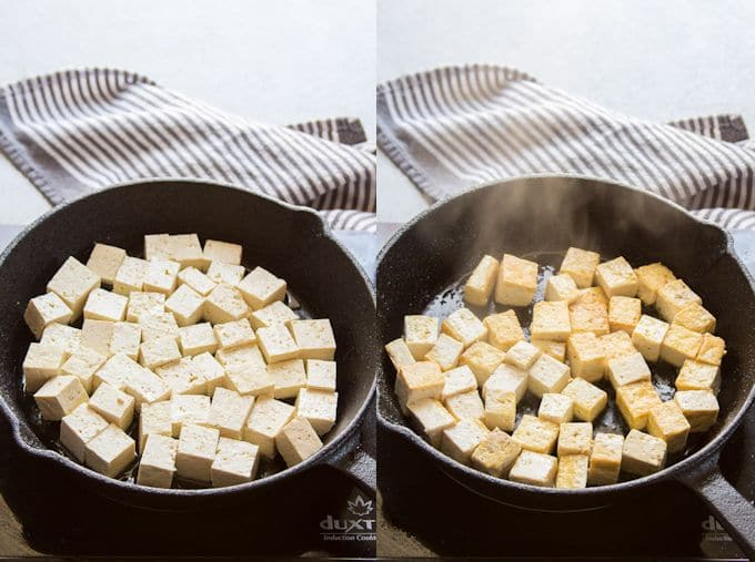 Collage Showing Stages of Tofu During Pan-Frying