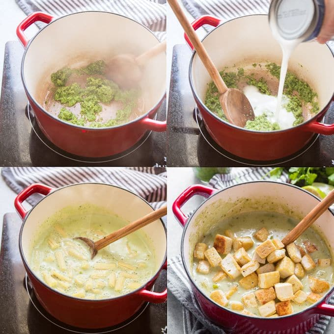 Collage Showing Steps for Making Green Curry: Sauté Curry Paste, Add Coconut Milk, Simmer with Veggies, and Stir in Tofu
