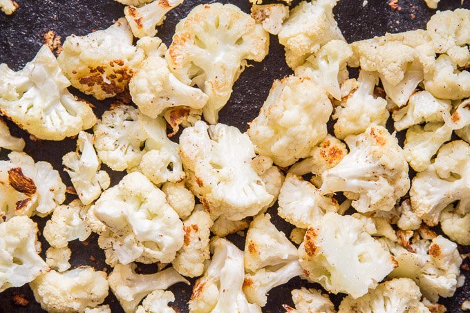 Roasted Cauliflower on a Baking Sheet
