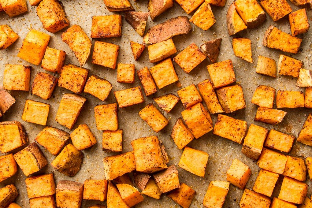 Roasted Sweet Potatoes on a Baking Sheet