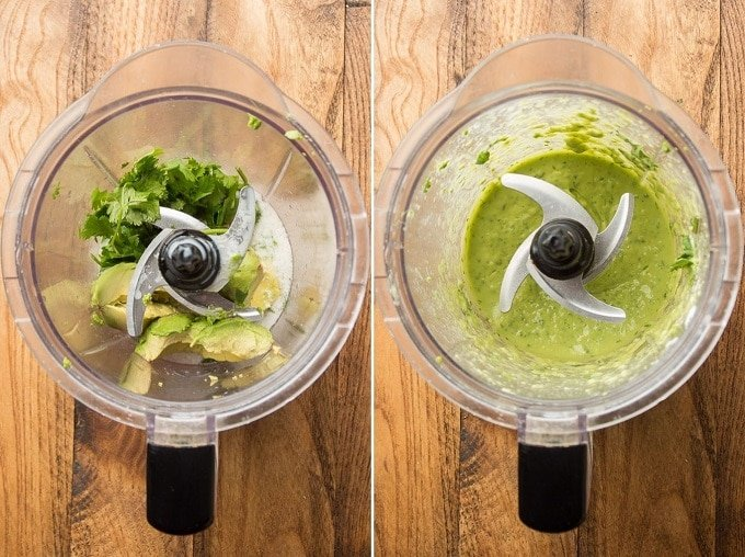 Blending Containing Ingredients for Avocado Dressing Before and After Blending