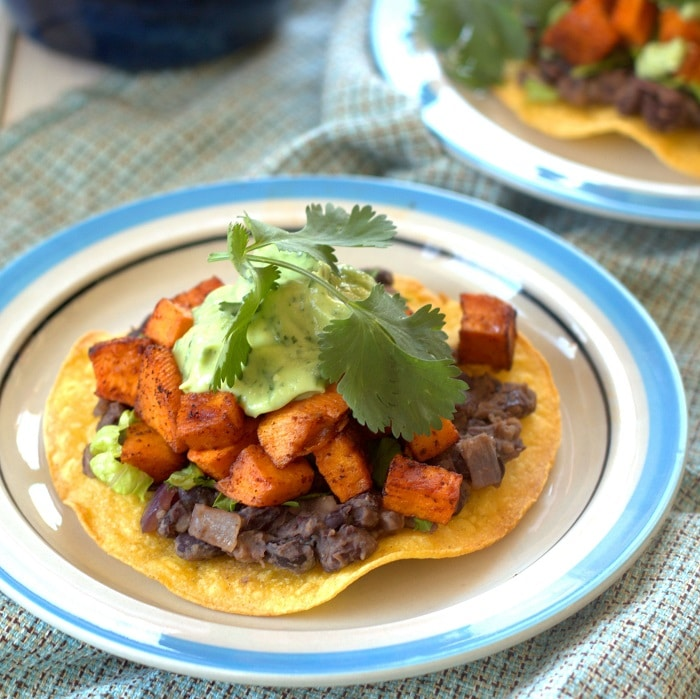 Black Bean and Chipotle Roasted Sweet Potato Tostadas with Avocado ...
