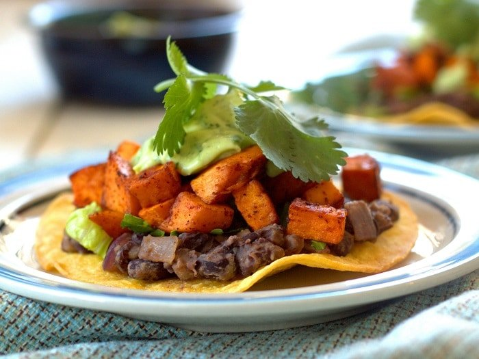 Chipotle Roasted Sweet Potato and Black Bean Tostadas with Avocado ...