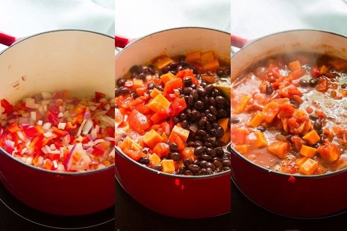 Collage Showing Steps for Making Chipotle Black Bean Sweet Potato Chili: Sauté Onion and Bell Pepper, Add Tomatoes, Beans, Sweet Potato and Spices, and Simmer