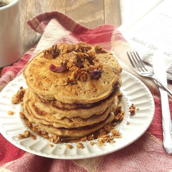 83 Vegan Brunch Recipes: Vegan Granola Pancakes