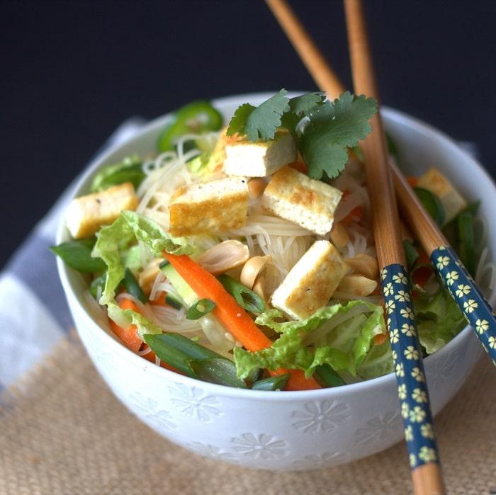 noodles, peanuts, pan-fried tofu and gingery dressing make this tofu ...