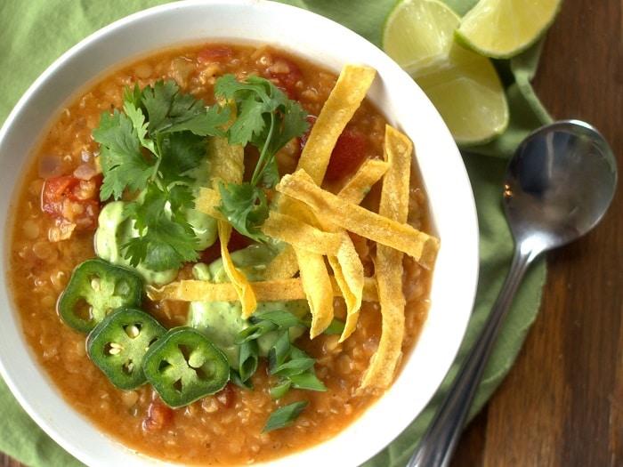 Red Lentil Taco Soup