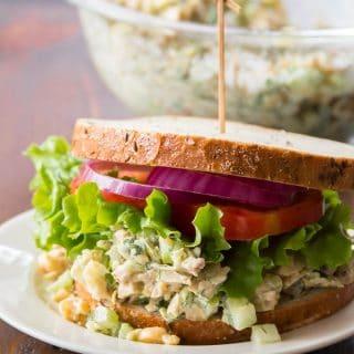 Vegan Chicken Salad on a Plate