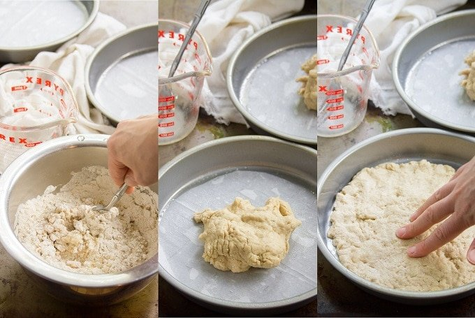 Photos Showing First Three Steps for Making Vegan Strawberry Shortcake: Mix Dough, Place in Pan, and Flatten