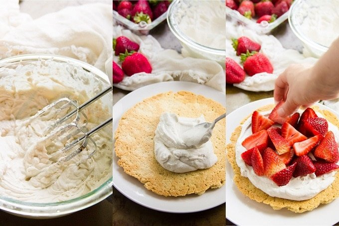 Three Photos Showing Steps for Making Vegan Strawberry Shortcake: Make Whipped Coconut Cream, Spread on Shortcake, and Top with Second Cake and Strawberries