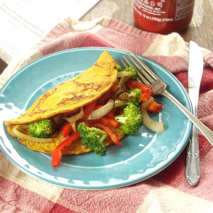 83 Vegan Brunch Recipes: Veggie-Stuffed Vegan Omelet