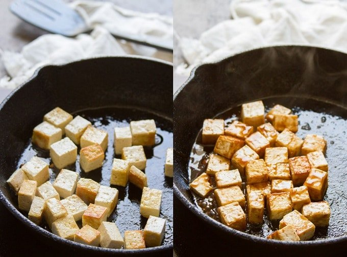 Collage Showing the Steps for Making Tofu For a Vietnamese Noodles Salad: Pan-Fry the Tofu in Oil, Glaze with Hoisin Sauce