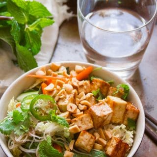 Vietnamese Rice Noodle Salad with Hoisin Glazed Tofu