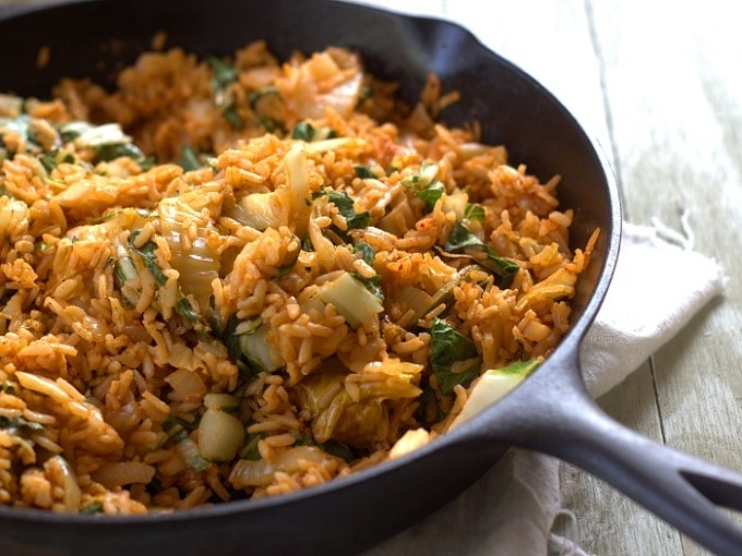 Kimchi Fried Rice in a Cast Iron Skillet