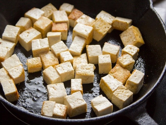 Tofu Sizzling in a Skillet